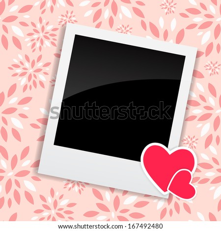 Valentine`s Day Photo Card with Heart Vector Illustration - stock vector