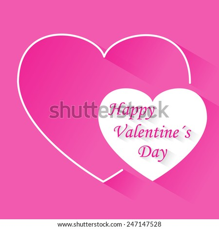 Valentine's day pink vector background with two hearts with shadow - stock vector