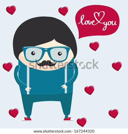 Valentine's day postcard. Hipster boy in glasses cartoon character. I love you words lettering. Hearts on the background. Vector illustration. - stock vector