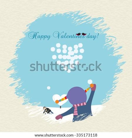 Valentine's day postcard. Vector illustration - stock vector