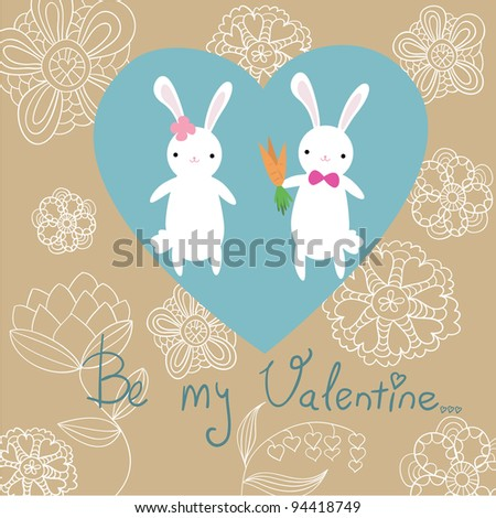 Valentine's day postcard with bunnies and flowers
