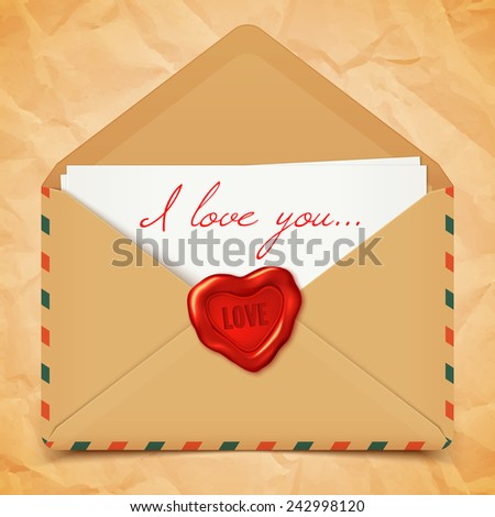 Valentine's day postcard with old retro vector envelope with wax seal in heart shape, love letter illustration - stock vector