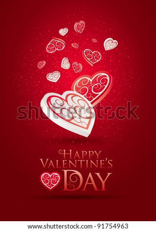 Valentine's Day Poster. Editable vector illustration. CMYK color mode. Print ready. All elements are layered separately in vector file. - stock vector
