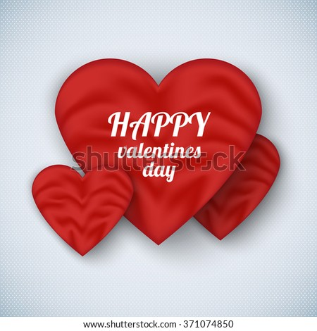 Valentine's day poster with realistic silk heart. Can be used for e-commerce, store, e-shopping, flyers, posters, web design and printed materials. - stock vector