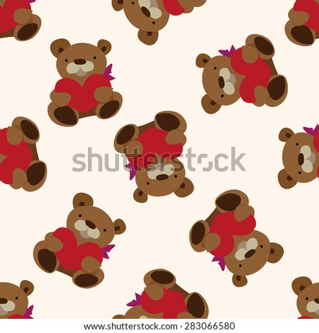 Valentine's day present bear icon 10,seamless pattern - stock vector
