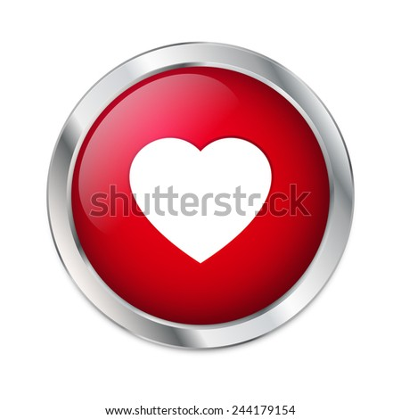 Valentine's Day - Red Heart button - stock vector