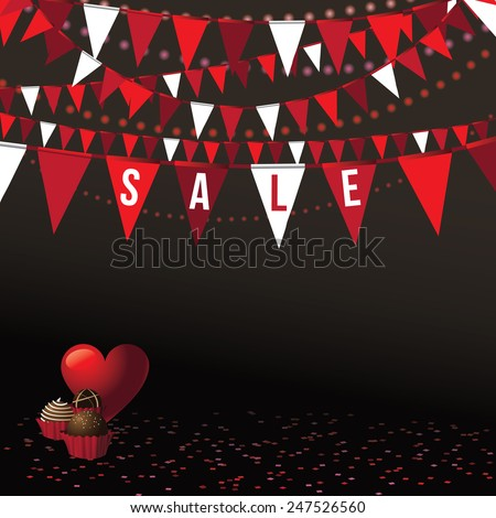 Valentine's Day sale background with festive flags and party lights Royalty free EPS 10 vector stock illustration Perfect for greeting card, advertising, flyer, poster, blog, website - stock vector