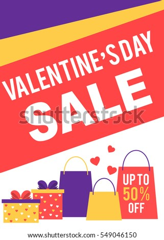 Valentine's day sale flyer and poster design