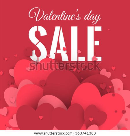 Valentineu0027s Day Sale. Letters With Hearts Valentine Background And  Reflection. Stock Vector.