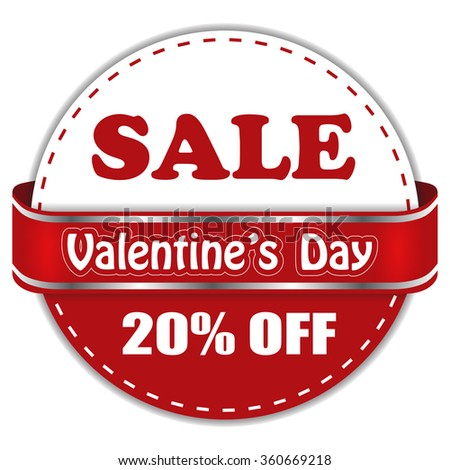 Valentine's day sale 20% off. Round design for advertising.  - stock vector