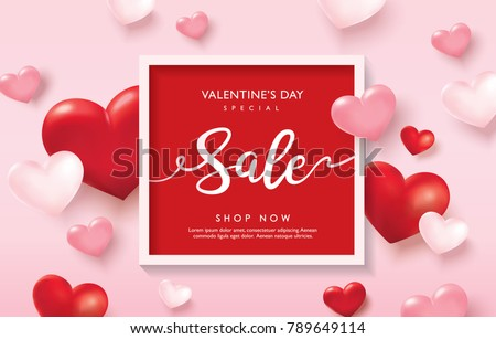 Valentine's day sale poster with red and pink hearts