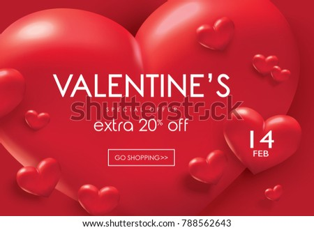 Valentine's day sale poster with red 3D hearts background