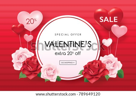 Valentine's day sale poster with roses and hearts