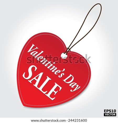 VALENTINE'S DAY Sale tag. EPS10 vector - stock vector