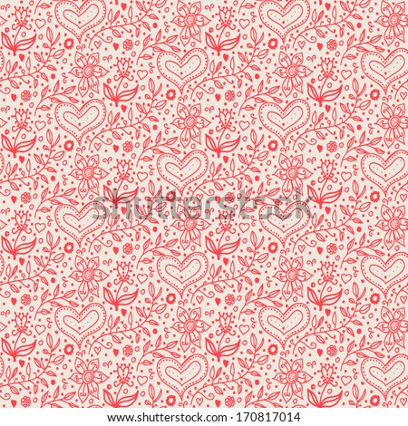 Valentine's day seamless background with doodle hand drawn hearts and flowers. - stock vector