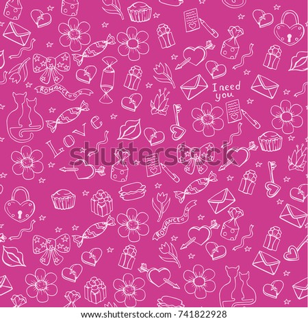 Valentine's day seamless pattern, background for holiday banner of flyer with doodle hand drawn elements, vector illustration