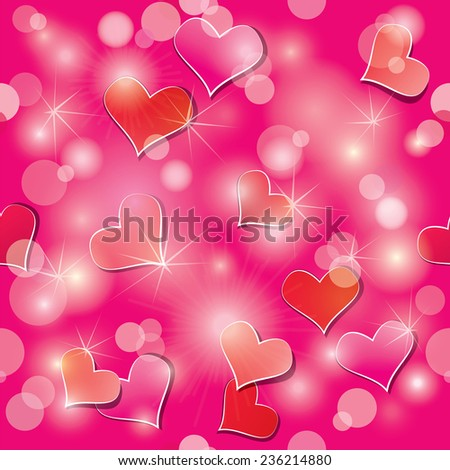 Valentine's day seamless pattern with hearts and lights - holiday pink abstract background. - stock vector