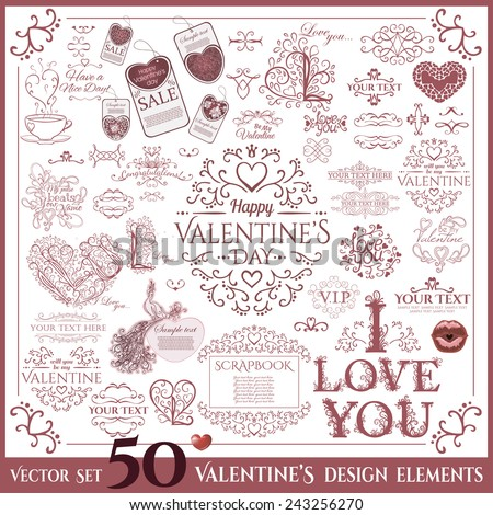 Valentine's Day set. Calligraphic design elements. Vector illustration - stock vector