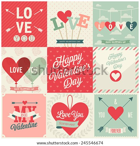 Valentine`s day set - emblems and cards. Vector illustration.