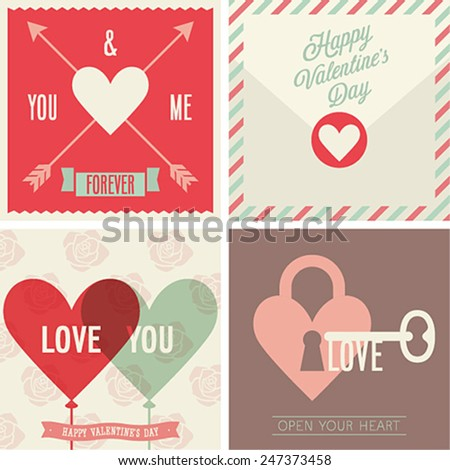Valentine`s day set - emblems and cards. Vector illustration. - stock vector
