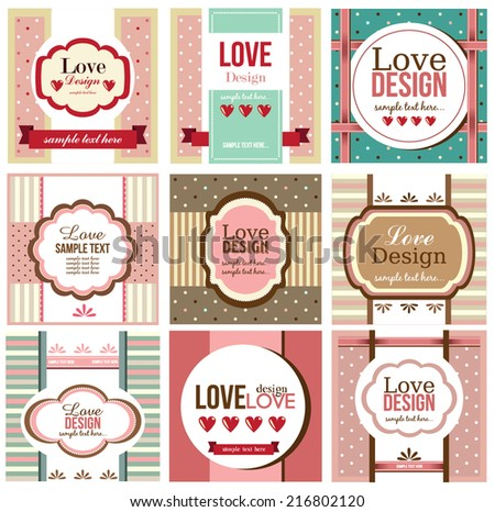 Valentine`s Day set - greeting cards.Love design. Vector illustration. - stock vector