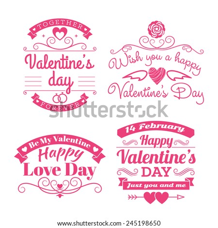 Valentine's day set of label, badges, stamp and design elements. Pink on white background