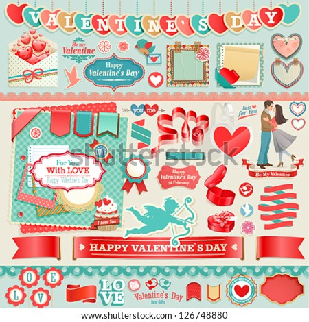 Valentine`s Day set - vintage ribbons and other decorative elements. - stock vector