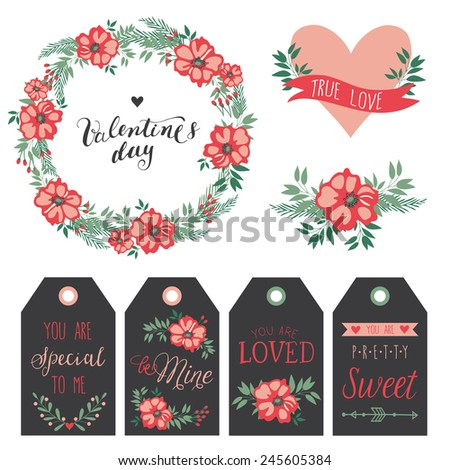 Valentine's Day set with romantic elements. Frame, heart with ribbon, floral composition and gift cards. Can be used as invitation card for wedding, valentine's day, birthday. - stock vector