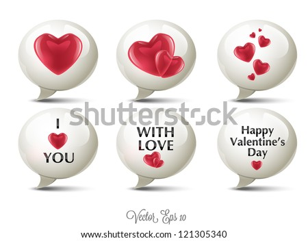 Valentine's Day Speech Bubble Icons - stock vector