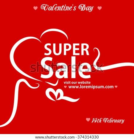 Valentine's Day super sale banner vector - stock vector