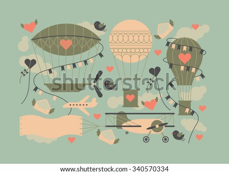 Valentine's day themed design element with symbols of romance with silhouettes of air balloons, kites and aircraft. - stock vector