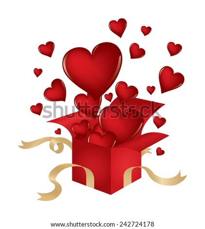 Valentine's Day themed illustration with hearts popping out of a present isolated on white. - stock vector