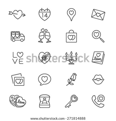 Valentine's day thin icons - stock vector