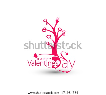 Valentine's Day Tree of Heart Shape Design. - stock vector