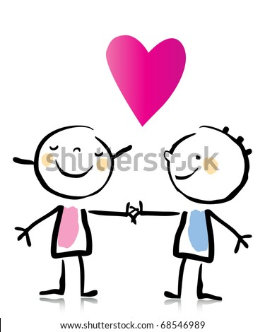 Valentine's Day two people in love holding hands, cartoon children's drawing style series. see more images related - stock vector