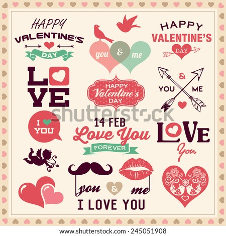 Valentine's day typography, labels and icons elements collection - stock vector