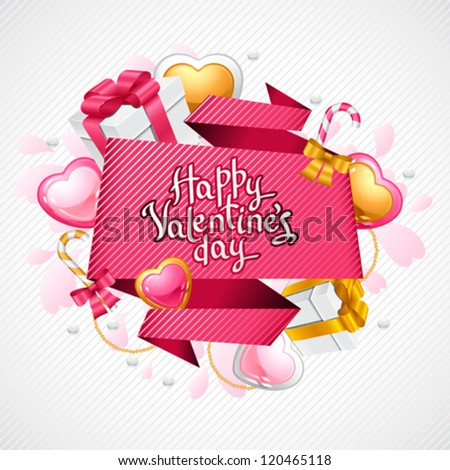 Valentine's Day vector background. Origami speech bubble. - stock vector