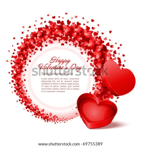 Valentine's day vector background with open gift - stock vector