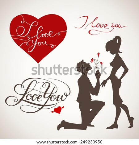 Valentine's Day vector elements with handwritten text - stock vector