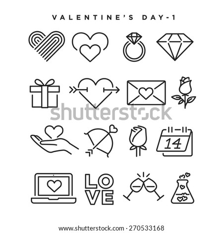 Valentine's Day vector icons. Elements for print, mobile and web applications. - stock vector