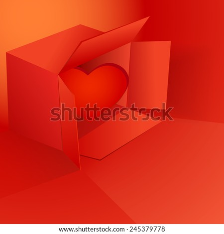 Valentine's day vector illustration with red box and heart eps 10 - stock vector