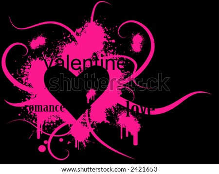 Valentine's day vector image with ink splats and vines. Funky and retro image. - stock vector