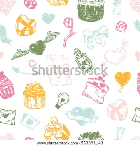Valentine's day. Vector seamless pattern with hand drawn elements. Valentine, romantic and love. Hearts, sweets, flowers and gifts.