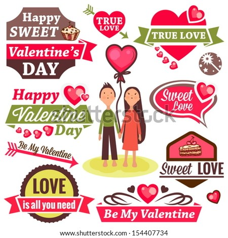 Valentine`s Day Vector Set - labels, emblems and other design elements.