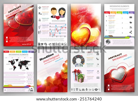 Valentine's day vector set of flyer and brochure design templates.  Business technology internet and networking  abstract  backgrounds.  Concept backgrounds for web and mobile applications. - stock vector