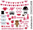 Valentine's Day vector set - photo booth props and design elements - stock vector