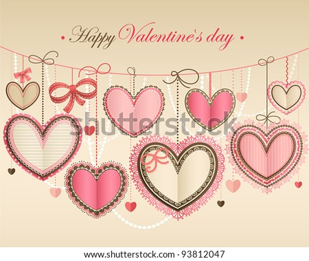 Valentine`s Day vintage card with lacy paper hearts and place for text. - stock vector