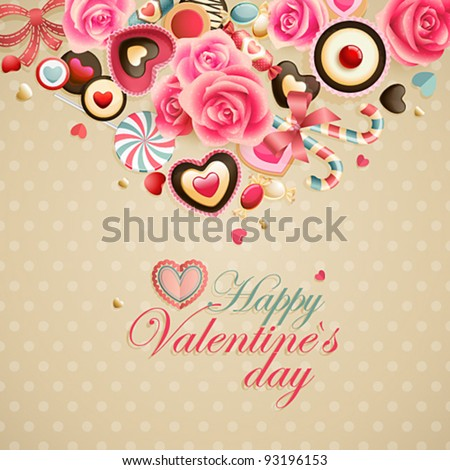 Valentine`s Day vintage lace card with sweets and place for text. - stock vector