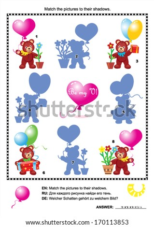 Valentine's Day visual puzzle with teddy bears, hearts, balloons, gifts and potted flowers: Match the pictures to their shadows (plus same task text in Russian and German). Answer included.