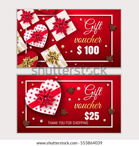 valentines day voucher gift certificate coupon stock vector royalty